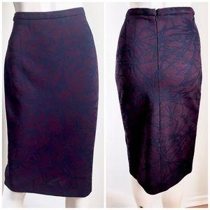 Escada Purple Blue Abstract Pencil Skirt 36, S